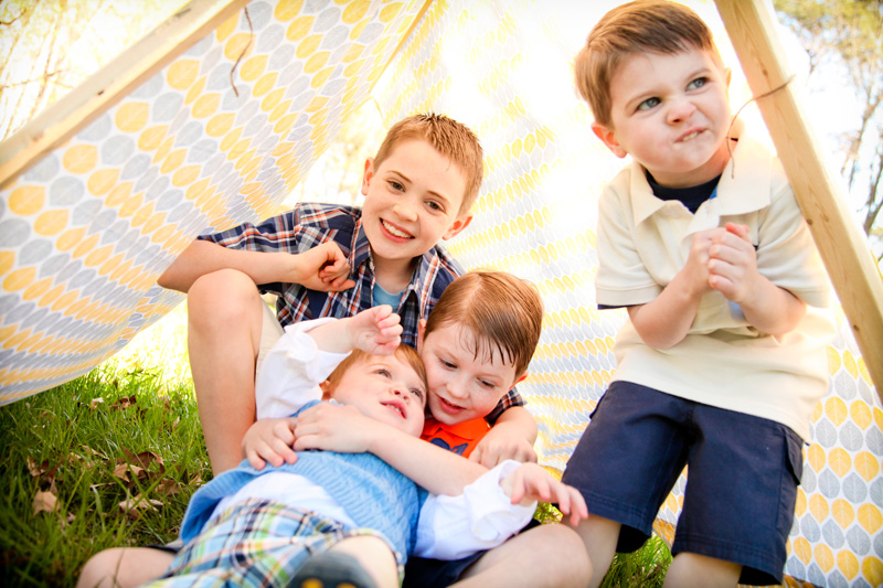 Family Photography and Milestone Photography, brothers playing together in tent