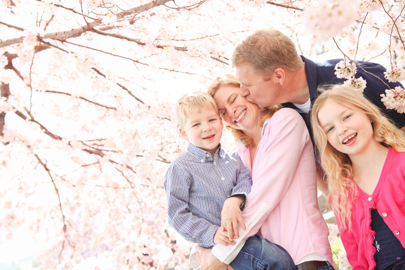 Family Photography and Milestone Photography, family shot under a cherry blossom tree