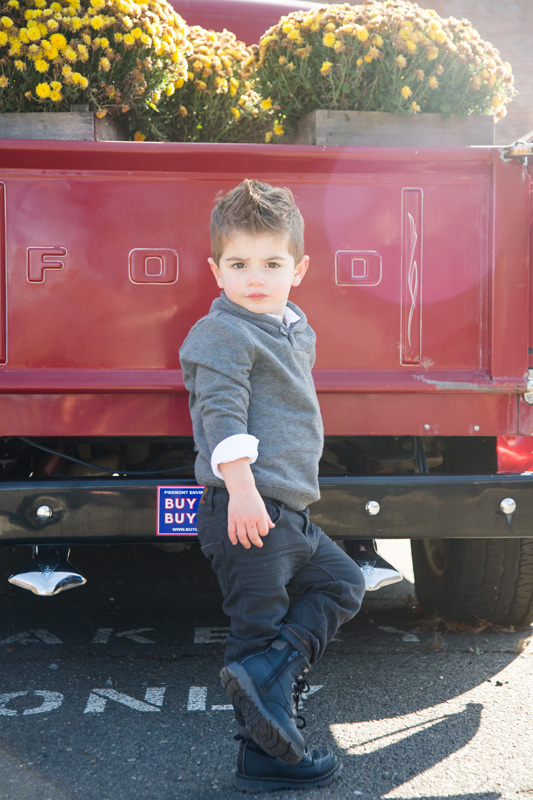 Family Photography and Milestone Photography, little boy leaning against old red ford truck