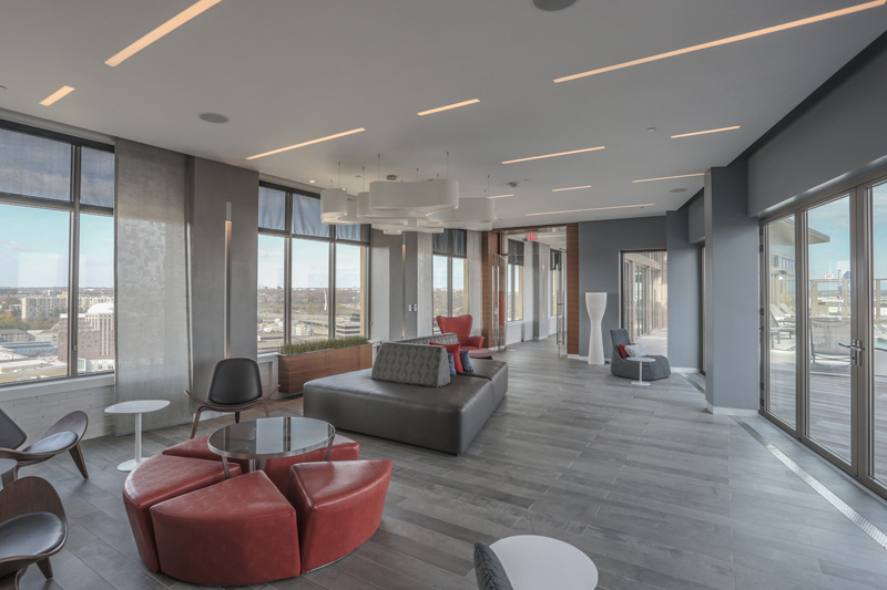 Real Estate Photography, open sitting area on high rise building