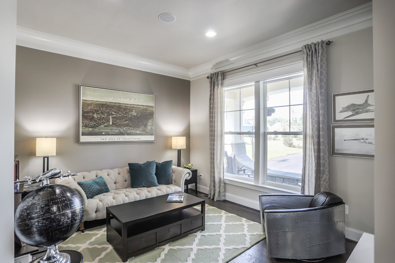 Real Estate Photography, gray toned sitting area