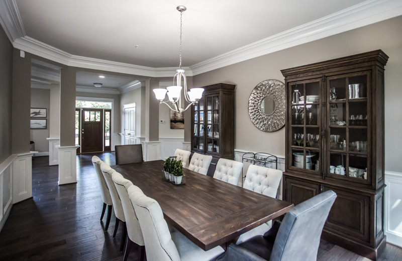 Real Estate Photography, dark toned dinning room with wooden table