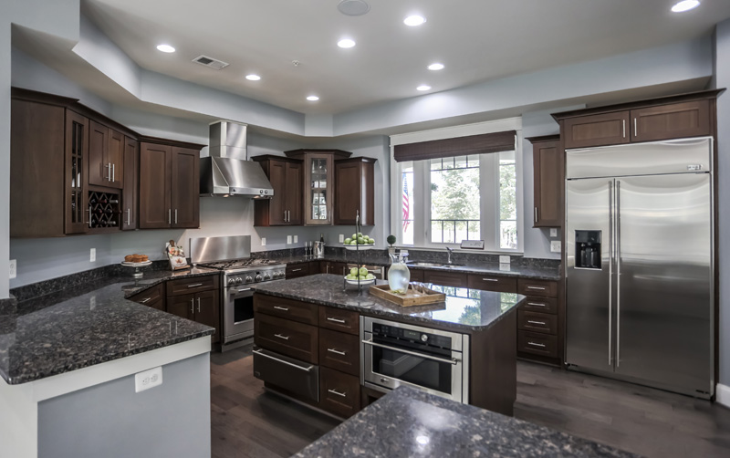 Real Estate Photography, dark toned kitchen alternate view
