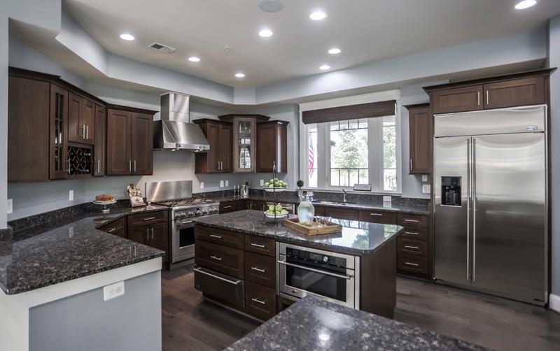 Real Estate Photography, dark toned kitchen alternate view