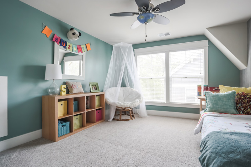 Real Estate Photography, little girls room with light sea foam walls